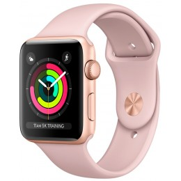 Apple Watch Series 3 42mm Gold Aluminum Case with Pink Sand Sport Band (MQL22)